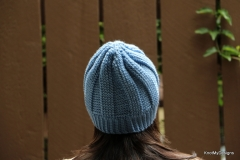 Blue Ribbed Slouchy Beanie