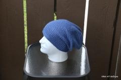 Men's Slouch Blue Beanie