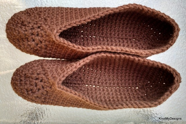 Crochet Brown Homie Slippers Free Pattern for an adult woman with non slippery grip - Knot My Designs
