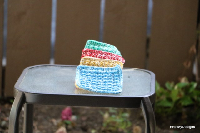 Crochet Scrubbed Coasters Free Pattern to save your table from condensation of water - Knot My Designs