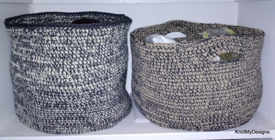 Crochet 2 Yarn Basket Free Pattern for Organization in your Home - Knot My Designs