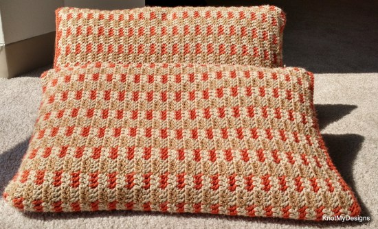 Winter/Fall Orange Color Crochet Gingham Fall Pillows Free Pattern - Home Decor - Knot My Designs