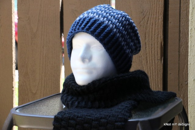 Winter / Fall Seasoned Crochet Mesh Shade Beanie Free Pattern for an adult man - kNot mY deSigns