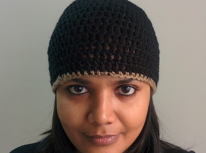 Crochet Basic Black Beanie Knot My Designs