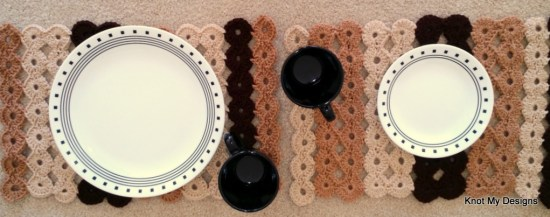 Crochet Shades of Brown Colored Clove Placemats-Coasters Set Free Pattern for your Dinning Table - Knot My Designs