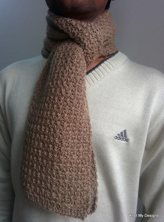 Winter/Fall Seasoned Crochet Men's Mesh Scarf Free Pattern - Knot My Designs