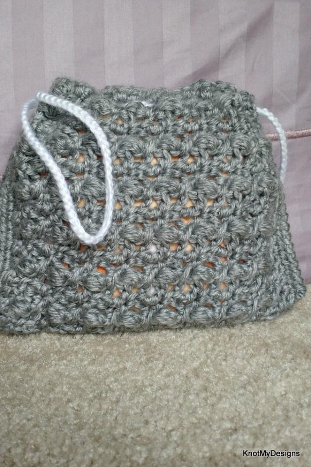 Free Crochet Bobble Drawstring Ladies Handbag Pouch Pattern - Knot My Designs