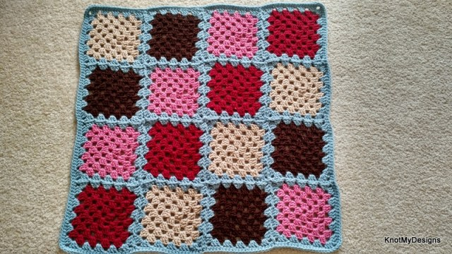 Crochet Multicolor Patched Granny Floormat Free Pattern with Non-Slippery base for your home - Knot My Designs