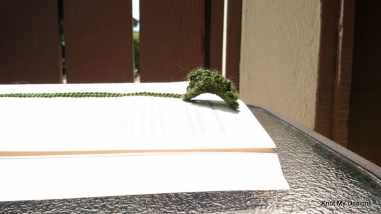 Crochet Green Pansy Leaf Bookmark Free Pattern - Knot My Designs