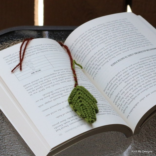 Crochet Leaflet Bookmark from Nature captured in Books - Knot My Designs