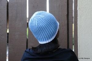 Crochet Free WInter/Fall Season Blue Billet Beanie for an adult woman pattern - Knot My Designs