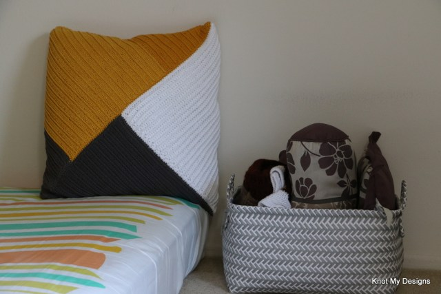Crochet Free Home Decor Asymmetrical Boxed Pillow Cover Pattern with Yellow, Grwy and White color set - Knot My Designs