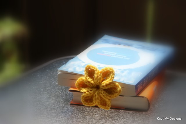 Crochet Sunny Petal Flower Bookmark Free Pattern from Nature Captured in Books Gallery - Knot My Designs