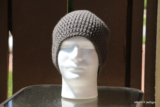 Crochet Men's Ash-Lead Beanie free pattern for winter - Knot My Designs