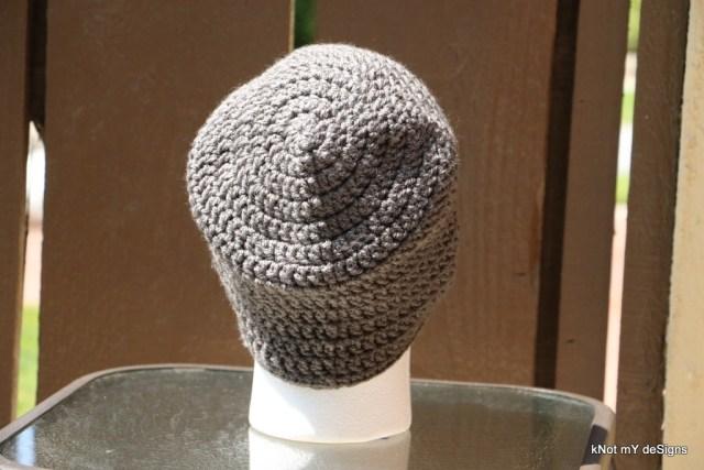Crochet Men's Ash-Lead Beanie free pattern for winter - Knot My Designs