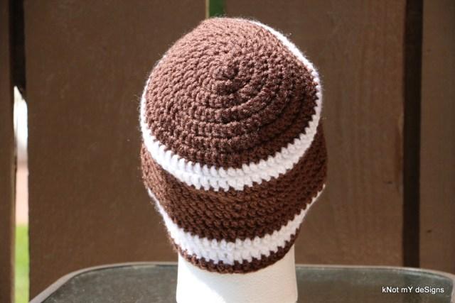 Crochet Gramp's Football Theme Beanie free pattern for winter/fall season - Knot My Designs