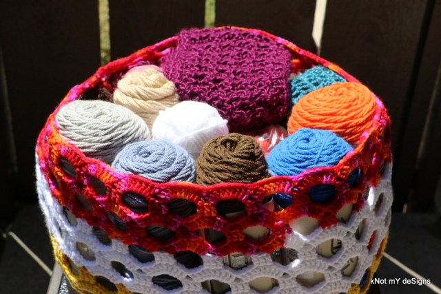 Crochet Oblong Shell Stash Basket free pattern - Knot My Designs
