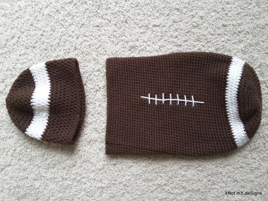 Winter/Fall Seasoned Crochet Baby Football Cocoon - kNot mY deSigns