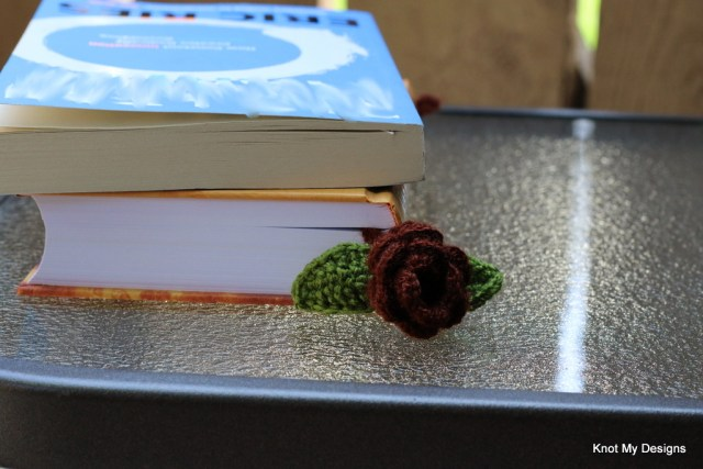 Crochet Dark Rose Flower and Leaf Bookmark Pattern for Bookworm - Knot My Designs