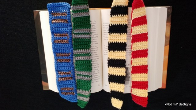 Crochet Harry Potter Hogwarts House Scarf Bookmark Free Pattern for Harry Potter Novel Series lover! - Knot My Designs