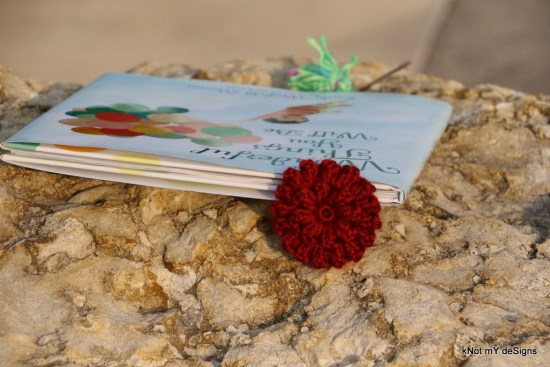 Crochet Popcorn Stitch Flower Bookmark - kNot mY deSigns