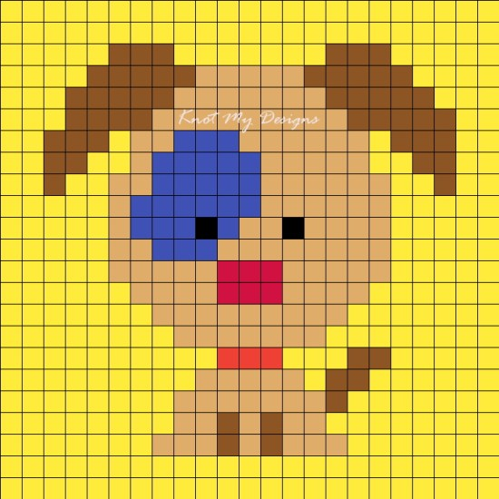 Crochet C2C Blue Patch Dog Grid Graph / Corner-to-corner Blue Patch Dog Graph Ear Down - Knot My Designs