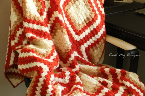 Crochet Persimmon C2C Diamond Throw / Lap Blanket / Afghan / Graphghan - Knot My Designs