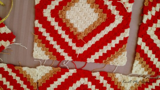 Crochet Persimmon C2C Diamond Throw / Lap Blanket / Afghan / Graphghan - in progress - Knot My Designs