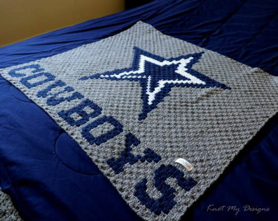 Crochet C2C Blue Star Cowboys Baby Blanket - Knot My Designs