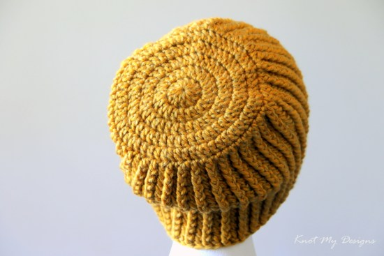 Crochet Section Ribbed Adult Beanie Free Pattern - Knot My Designs