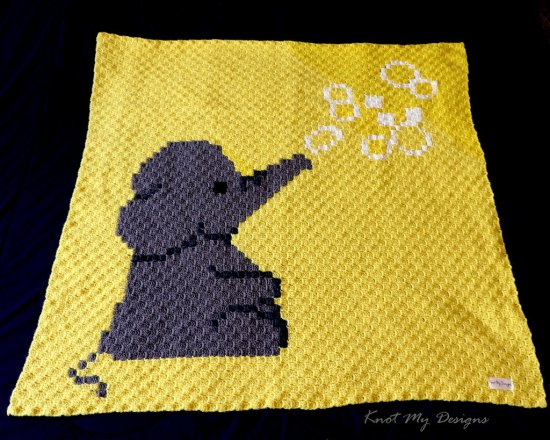 Elephant Blowing Bubbles Baby Blanket / Graphghan - Knot My Designs
