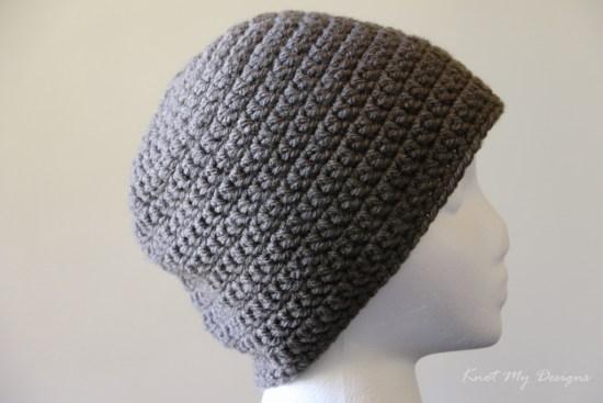 Crochet Basic Grey Beanie Free Pattern - Knot My Designs