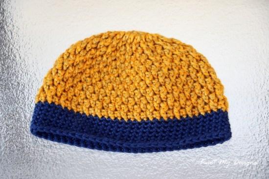 Crochet Texture Weave NewBorn Beanie Free Pattern - Knot My Designs
