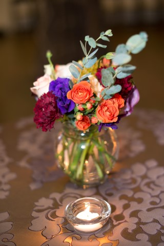 Small Colorful Centerpiece with Tea Candle