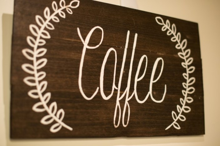 Hand Painted Wooden Coffee Sign