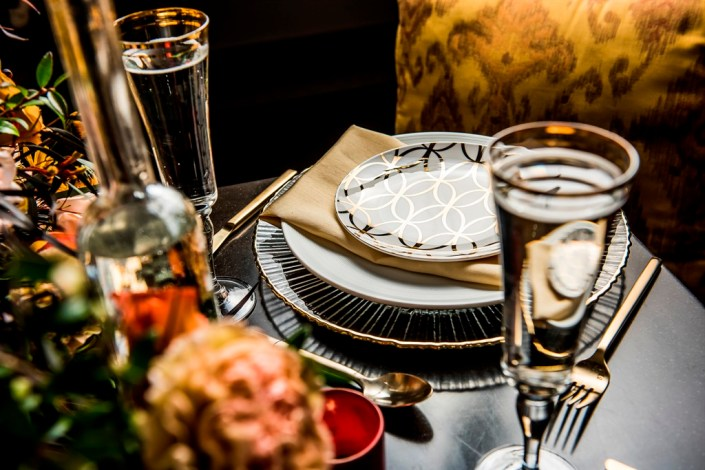 metal and gold wedding inspiration table setting details