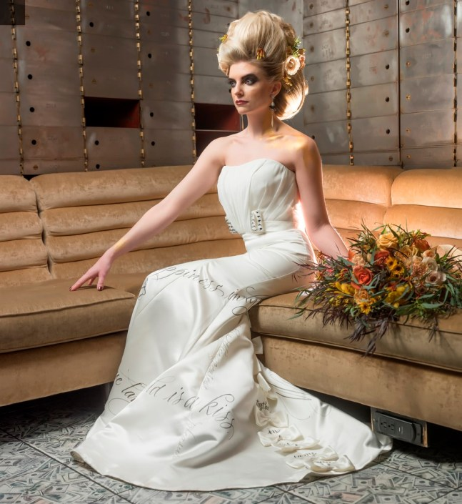 metal and gold wedding inspiration bridal photo seated