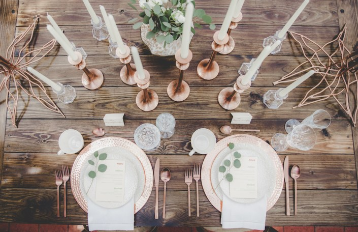 Copper tablescape placesettings for a wedding