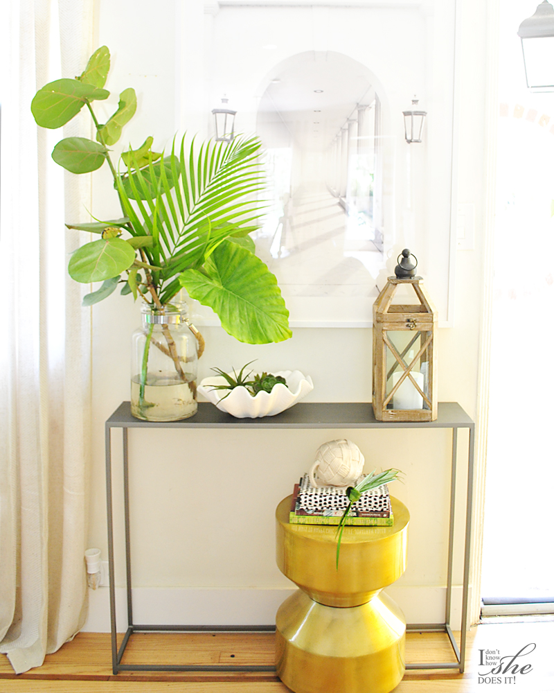 Summer inspired small foyer table