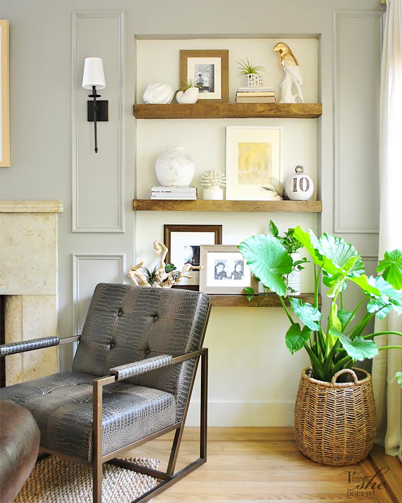 Summer inspired living room decor shelves