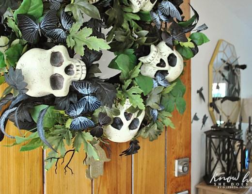 Skull wreath entryway