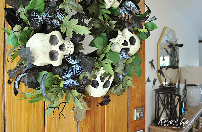 Skull wreath entryway