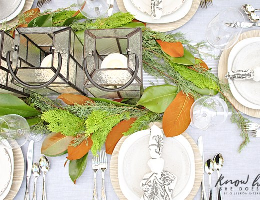Magnolia leaves as table centerpiece 1