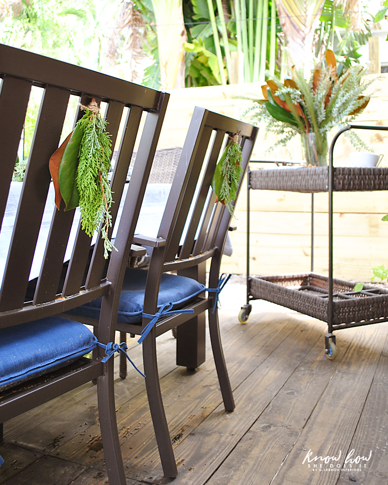 Magnolia leaves back chair decor 3