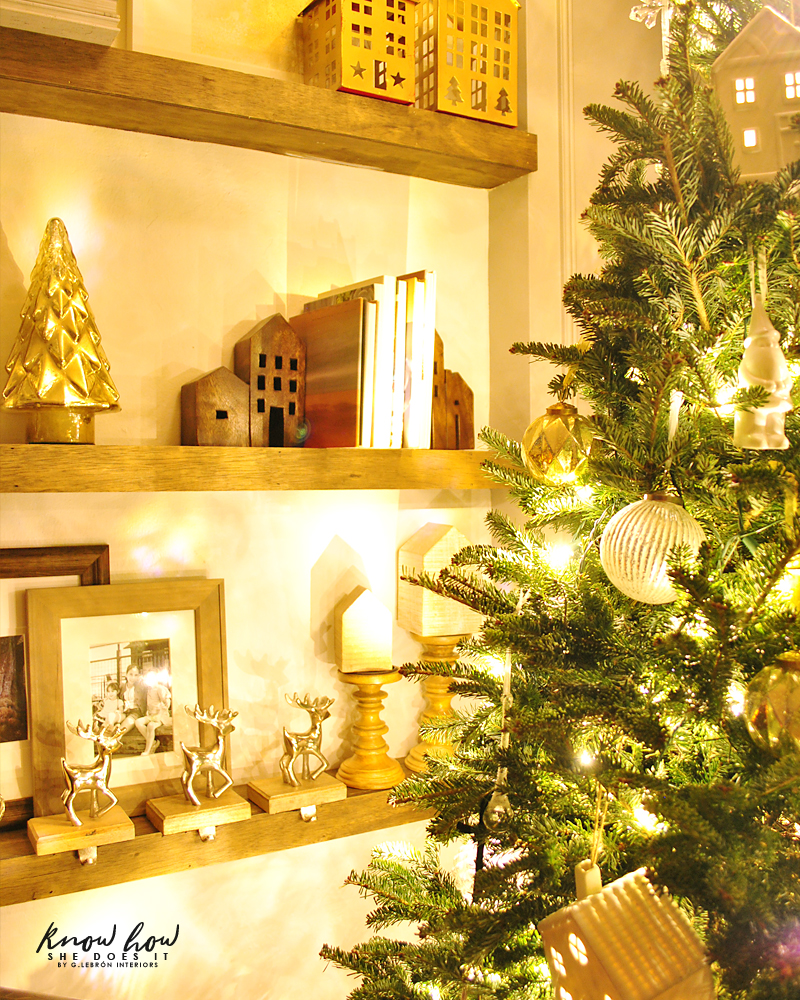 Holiday Small Home Tour shelves night