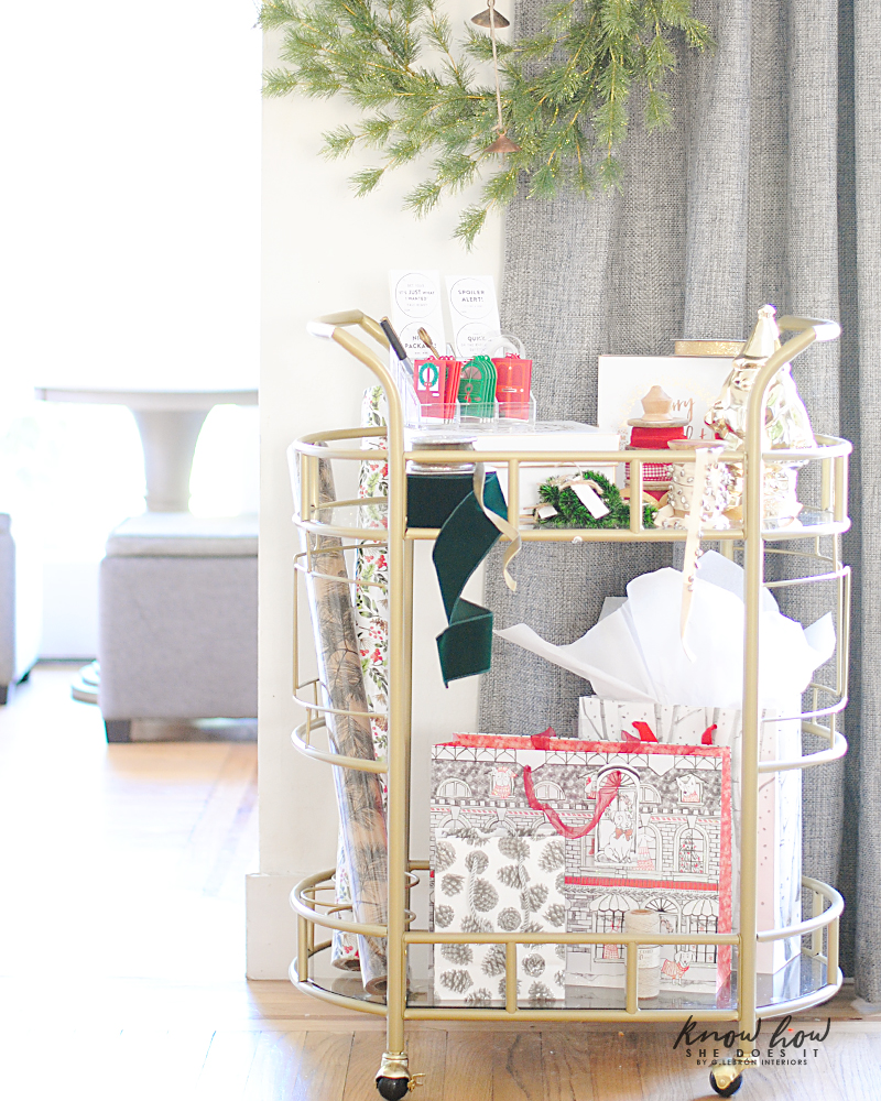 gift wrapping station bar cart