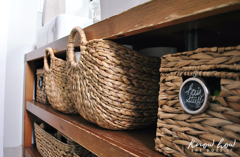 Bathroom Organization tags on baskets