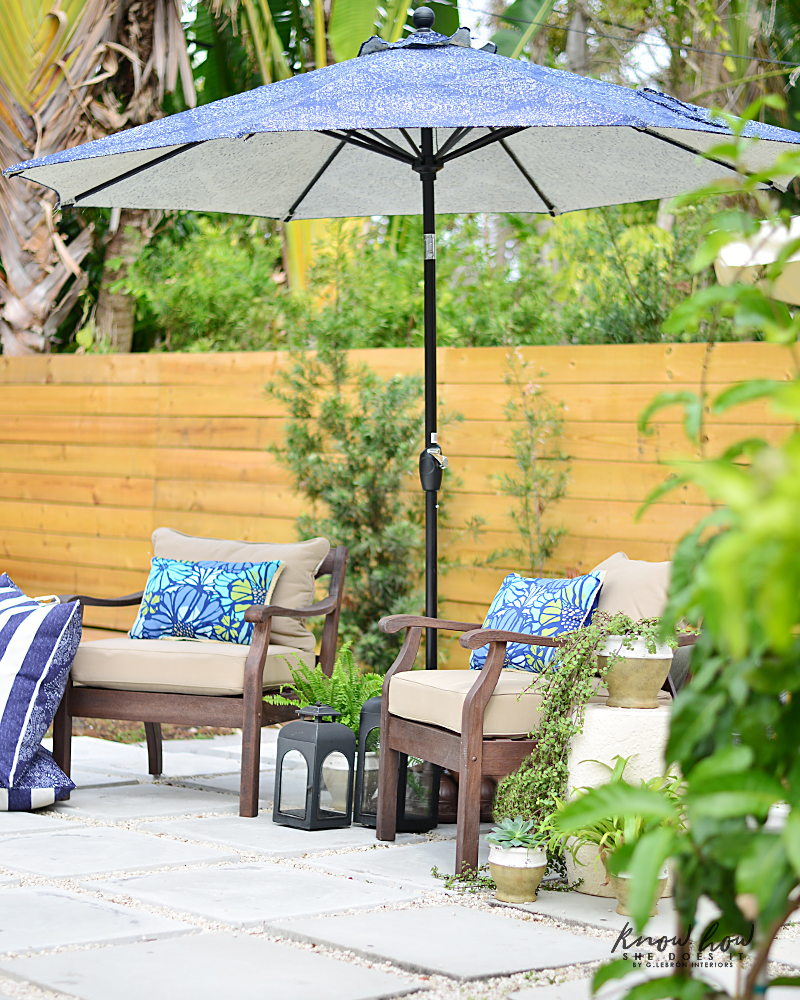 Colorful mix and match outdoor patio pieces umbrella