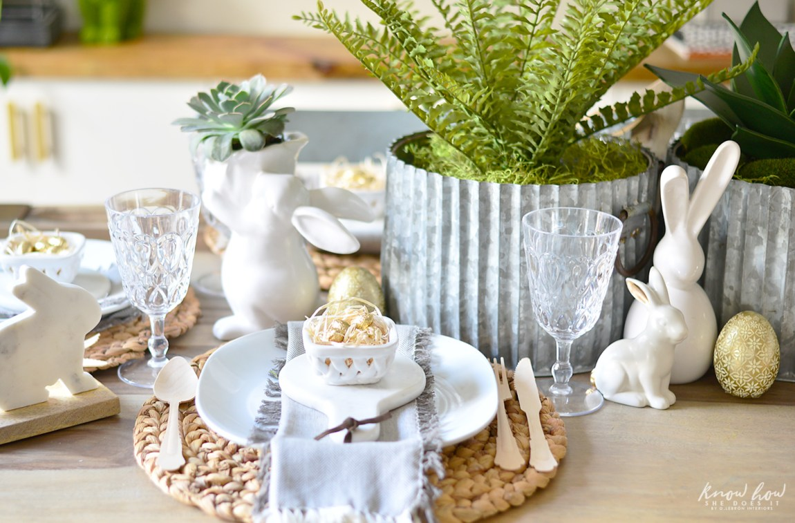 Easter kids friendly table setting front view horizontal