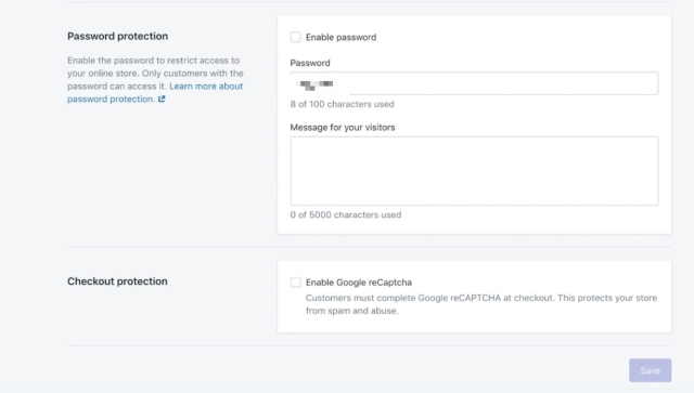 password-protecting shopify store